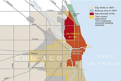 Mapa de Chicago con la zona afectada por el incendio de 1871